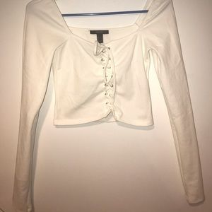 All white knit crop shirt from FOREVER 21